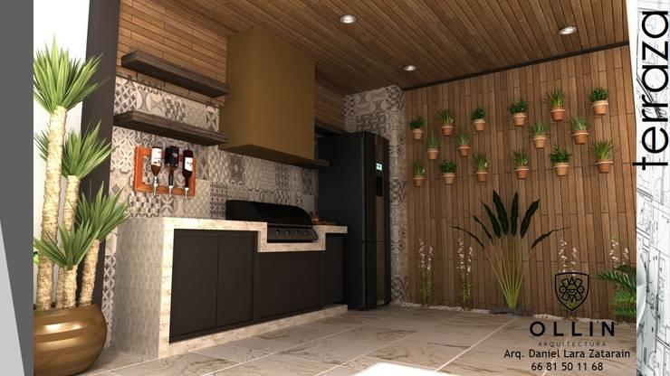 AREA TERRAZA: Terrazas de estilo  por OLLIN ARQUITECTURA