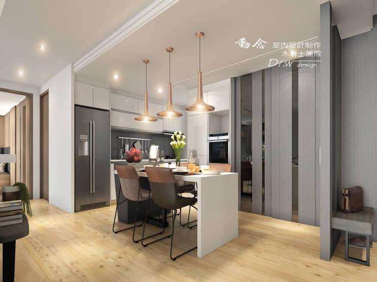 餐廳/現代風/人造石/歐式系統傢俱/廚房:  餐廳 by 木博士團隊/動念室內設計制作