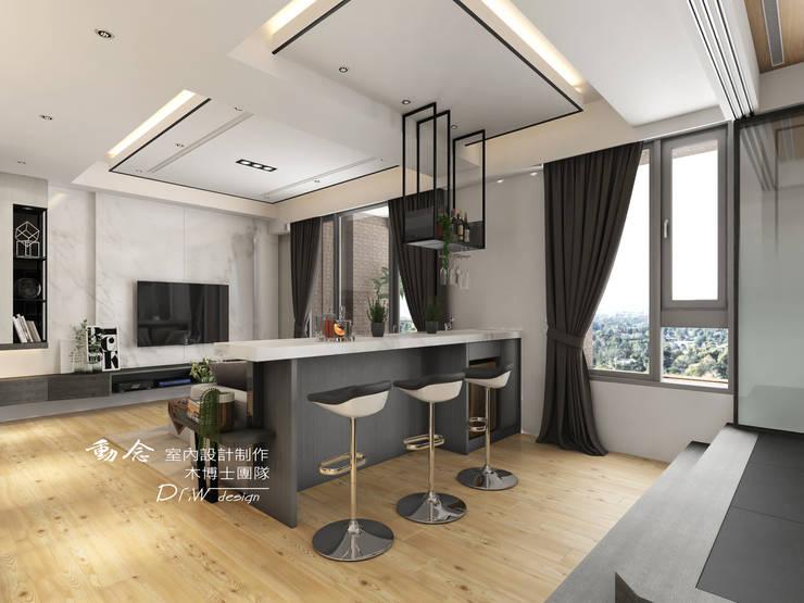 吧檯/人造石/把檯椅/造型天花板:  餐廳 by 木博士團隊/動念室內設計制作