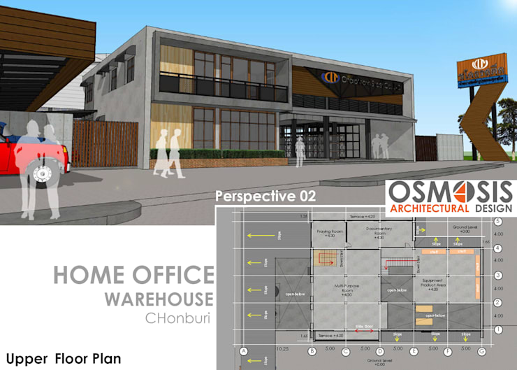 Chalothornsteel Office & Warehouse:   by OSMOSIS Architectural Design