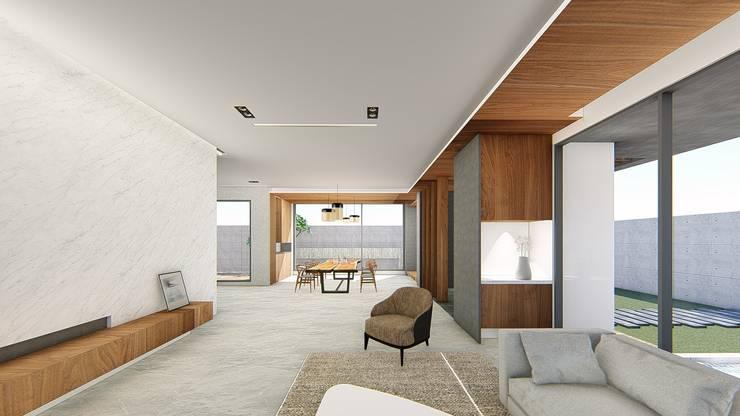 客廳望向玄關:  走廊 & 玄關 by 尋樸建築師事務所