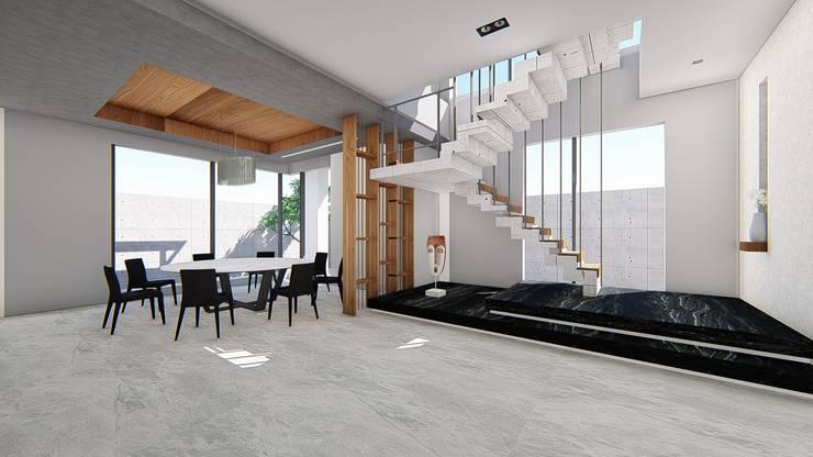 餐廳與主樓梯-1:  餐廳 by 尋樸建築師事務所