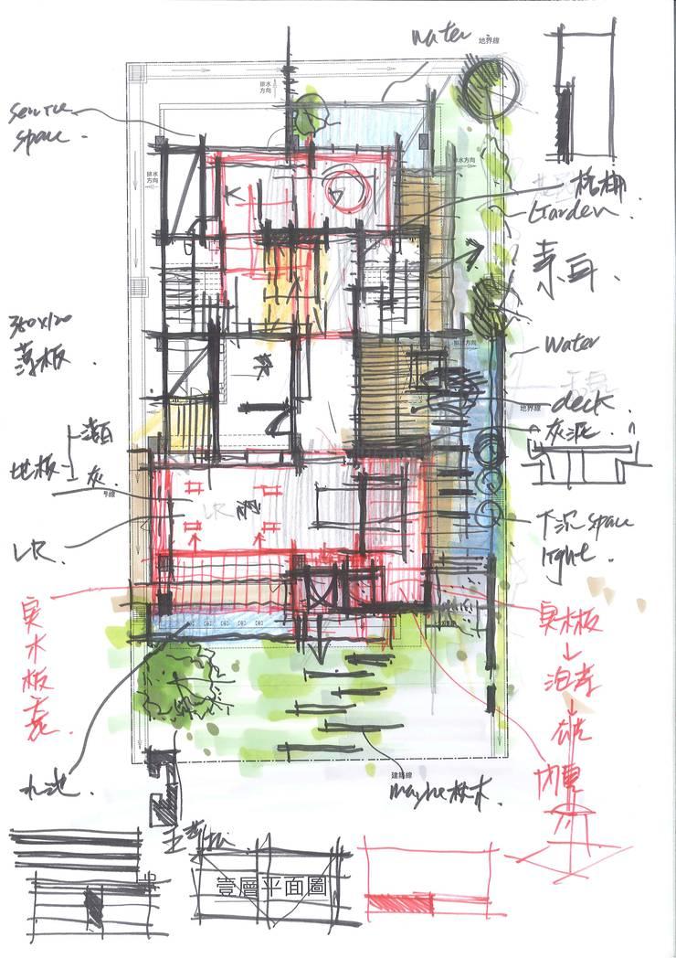 1樓平面手稿:  別墅 by 尋樸建築師事務所