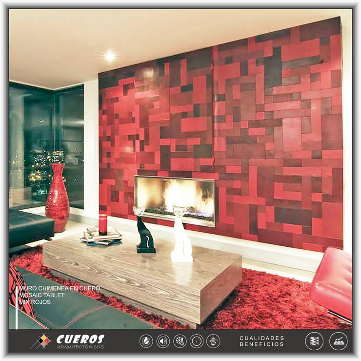 Chimeneas en Cuero: Salas de estilo  por Cueros Arquitectónicos