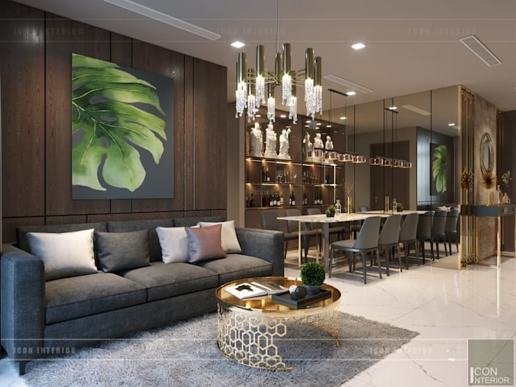 Thiết kế nội thất hiện đại căn hộ Vinhomes Central Park – ICON INTERIOR:  Phòng khách by ICON INTERIOR