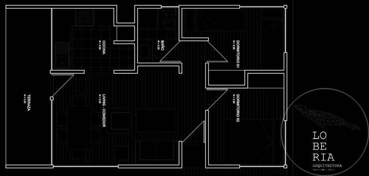 Diseño de Casa 48 por Lobería Arquitectura:  de estilo  por Loberia Arquitectura