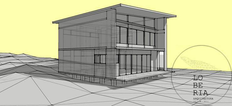 Diseño de Casa Carla por Lobería Arquitectura: Casas unifamiliares de estilo  por Loberia Arquitectura