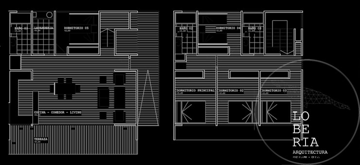 Diseño de Casa Carla por Lobería Arquitectura:  de estilo  por Loberia Arquitectura