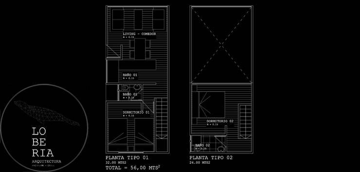 Diseño de Loft 56 por Lobería Arquitectura:  de estilo  por Loberia Arquitectura