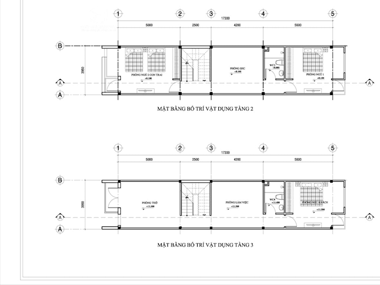 Thiết kế nhà phố 1 trệt 2 lầu 1 tum:   by Công ty TNHH Thiết kế Xây dựng Ngôi Nhà Hoàn Hảo