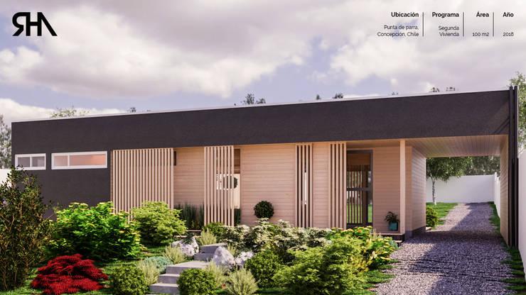 Render diseño de fachada principal:  de estilo  por RHA Arquitectura + Construcción