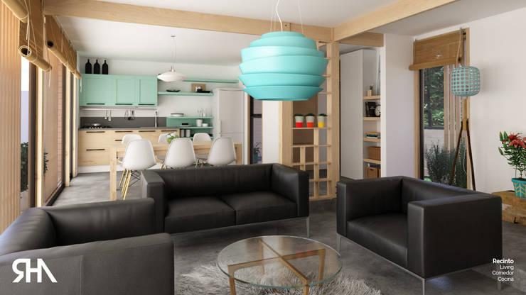 Living+comedor+cocina:  de estilo  por RHA Arquitectura + Construcción