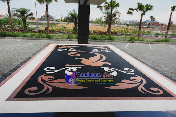 Lantai Carport Batu Sikat Motif Bunga:   by Tukang Taman Surabaya - flamboyanasri
