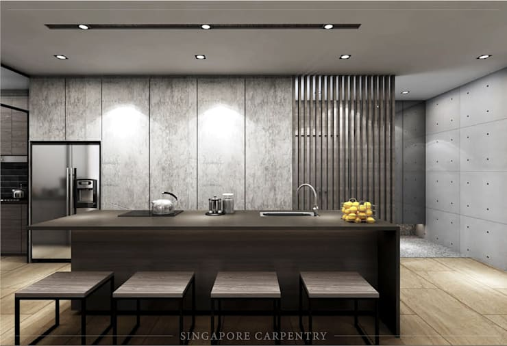 Mordern style at 808 Thomson Road:  Kitchen by Singapore Carpentry Interior Design Pte Ltd