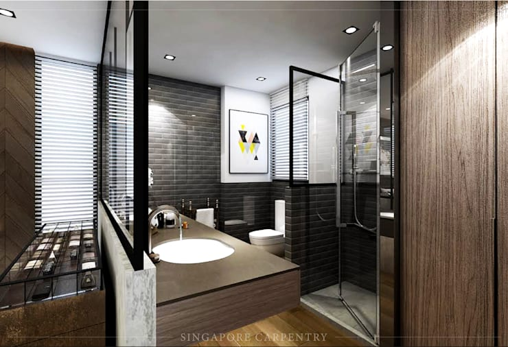 Mordern style at 808 Thomson Road:  Bathroom by Singapore Carpentry Interior Design Pte Ltd