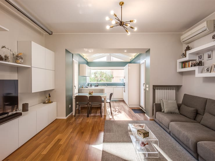 现代客厅設計點子、靈感 & 圖片 根據 MOB ARCHITECTS 現代風