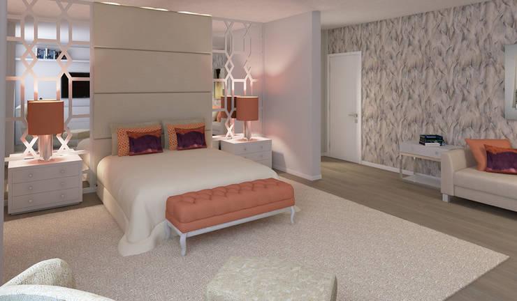 غرفة نوم تنفيذ Ana Andrade - Design de Interiores