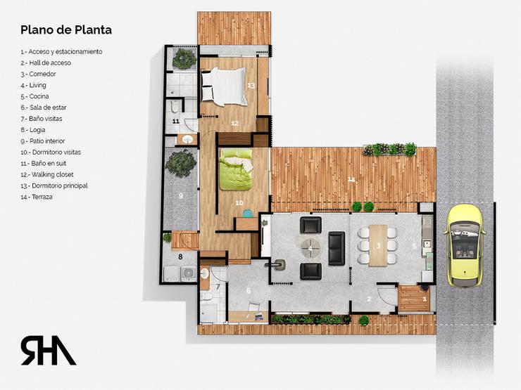 Plano de planta:  de estilo  por RHA Arquitectura + Construcción