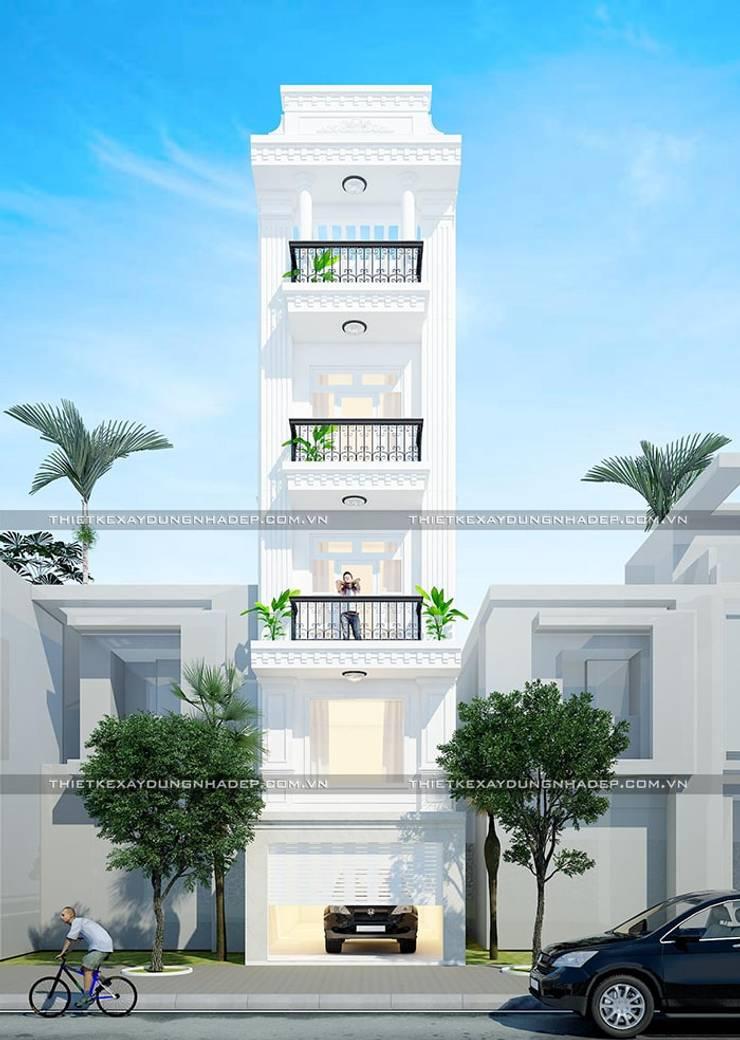 Mặt tiền nhà đẹp:  Nhà gia đình by Công ty cổ phần tư vấn kiến trúc xây dựng Nam Long