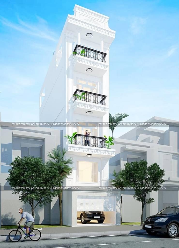 3D mặt tiền nhà đẹp:  Nhà gia đình by Công ty cổ phần tư vấn kiến trúc xây dựng Nam Long