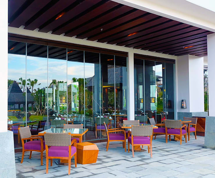 Ritz Carlton Bali, custom chairs, lounge and bar area:  Teras by Sweden studio