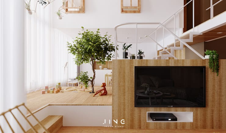 Pingtung 蔡宅:  客廳 by 景寓空間設計
