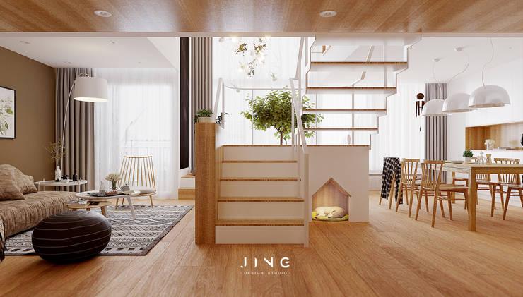Pingtung 蔡宅:  樓梯 by 景寓空間設計