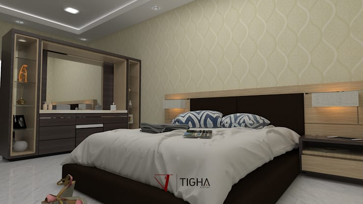 Design Interior Mrs.S Master Bedroom :  Bedroom by Tigha Atelier