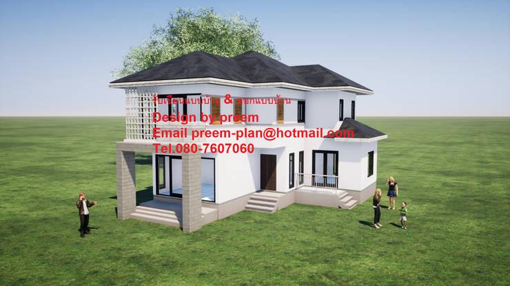 บ้านพัก 2 ชั้น:  บ้านเดี่ยว by รับเขียนแบบบ้าน&ออกแบบบ้าน