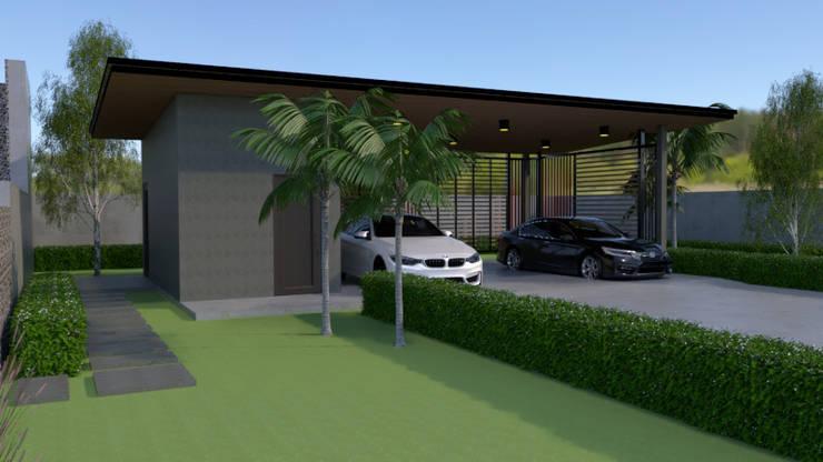โรงจอดรถแบบจำลอง 3D:  โรงจอดรถ by บริษัท พี นัมเบอร์วัน ดีไซน์ แอนด์ คอนสตรัคชั่น จำกัด