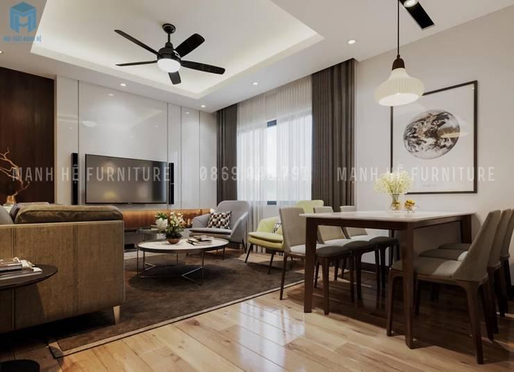 Không gian phòng khách và bếp liền kề với nhau:  Phòng khách by Công ty TNHH Nội Thất Mạnh Hệ