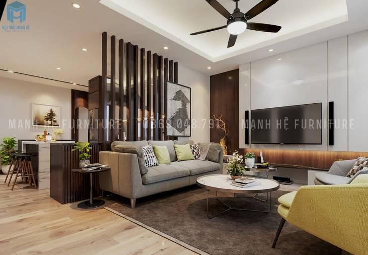 Bộ ghế sofa nệm hình chữ I màu xám khá sang trọng :  Phòng khách by Công ty TNHH Nội Thất Mạnh Hệ