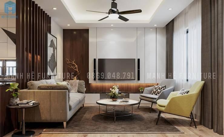 Không gian phòng khách hiện đại và sang trọng với gam màu chủ đạo là trắng - xám:  Phòng khách by Công ty TNHH Nội Thất Mạnh Hệ