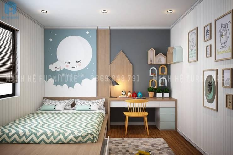 Phòng ngủ nhỏ cho bé được thiết kế khá tinh tế:  Phòng ngủ by Công ty TNHH Nội Thất Mạnh Hệ
