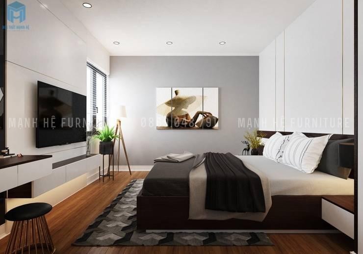 Thiết kế phòng ngủ master khá tinh tế và thoáng đãng:  Phòng ngủ by Công ty TNHH Nội Thất Mạnh Hệ