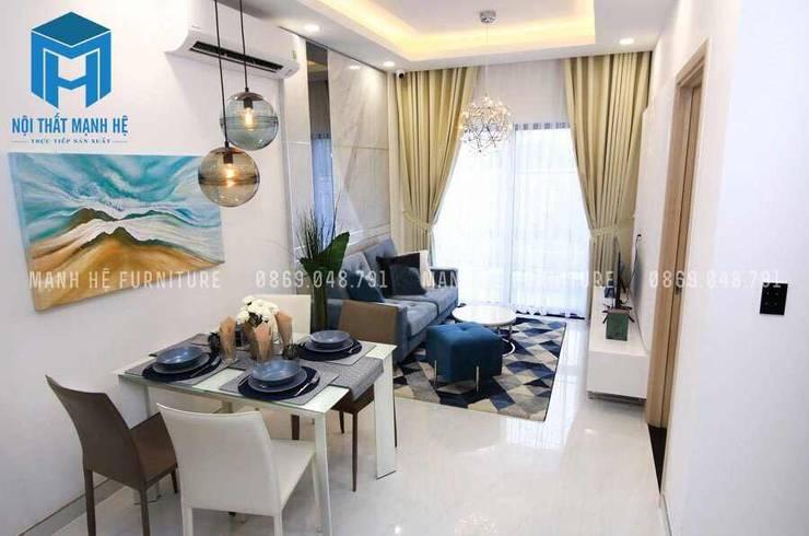 Không gian phòng khách và bộ bàn ăn :  Phòng khách by Công ty TNHH Nội Thất Mạnh Hệ
