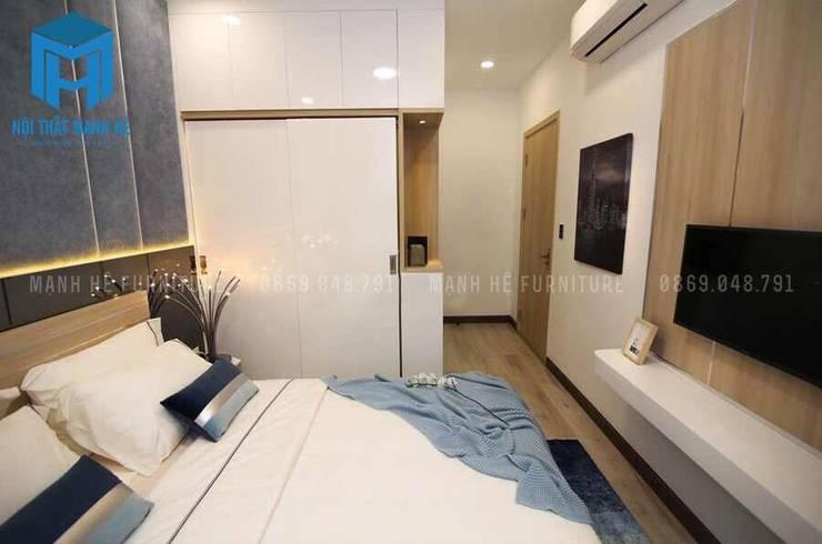 Không gian phòng ngủ tuy nhỏ nhưng lại đầy đủ tiện nghi:  Phòng ngủ by Công ty TNHH Nội Thất Mạnh Hệ