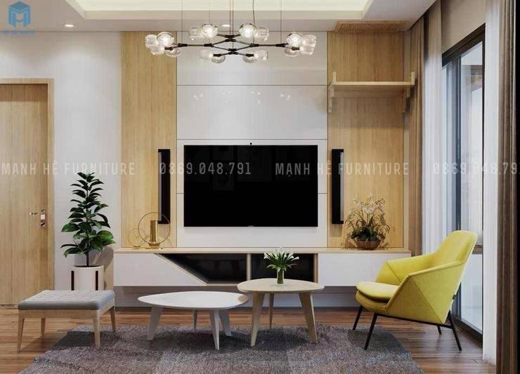Nội thất phòng khách đầy đủ tiện nghi:  Phòng khách by Công ty TNHH Nội Thất Mạnh Hệ