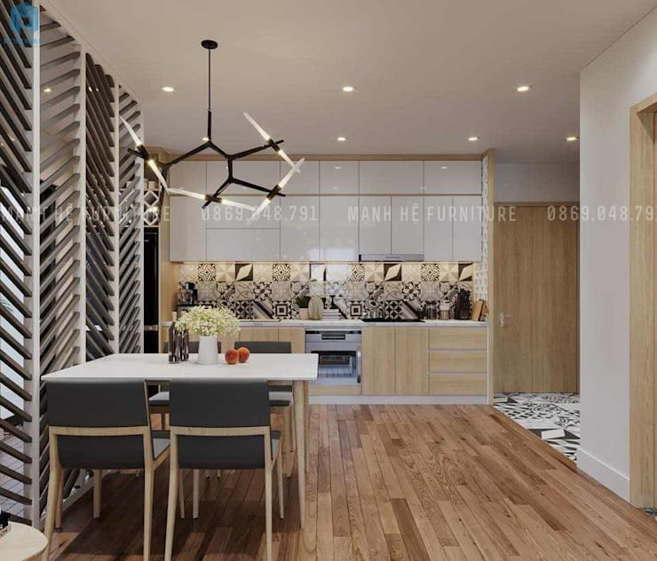 Nội thất phòng bếp khá hiện đại và sang trọng:  Phòng ăn by Công ty TNHH Nội Thất Mạnh Hệ