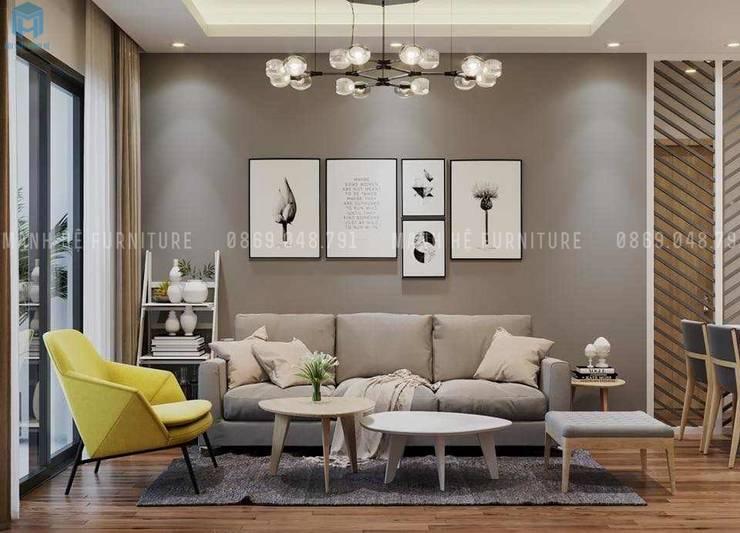 Bộ bàn ghế sofa nệm hình chữ I chân gỗ màu xám:  Phòng khách by Công ty TNHH Nội Thất Mạnh Hệ