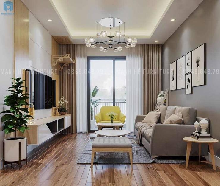 Không gian phòng khách khá thoáng đãng với khung cửa lớn:  Phòng khách by Công ty TNHH Nội Thất Mạnh Hệ