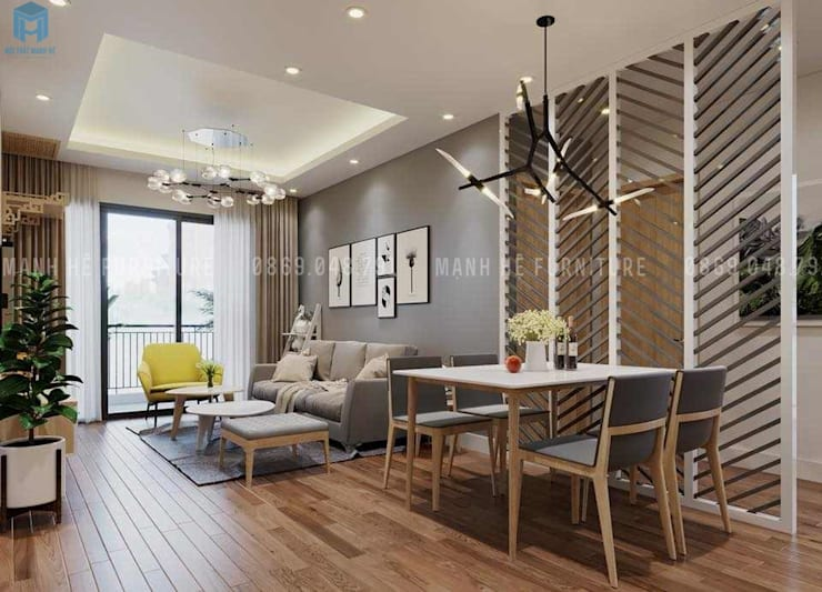 Nội thất phòng khách liền kề với phòng ăn:  Phòng khách by Công ty TNHH Nội Thất Mạnh Hệ