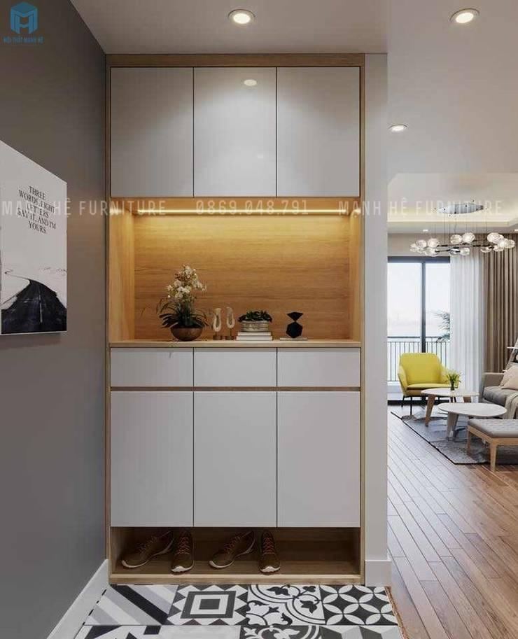 Tủ thờ màu trắng:  Phòng khách by Công ty TNHH Nội Thất Mạnh Hệ