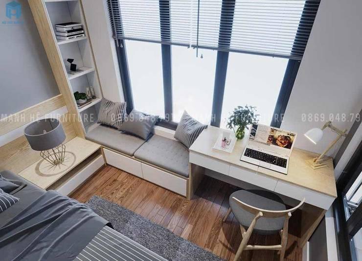 Chỗ ngồi đọc sách được thiết kế ngay cạnh cửa sổ:  Phòng ngủ by Công ty TNHH Nội Thất Mạnh Hệ
