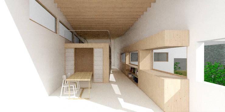 이층 내부공간: 건축사사무소 모뉴멘타의  거실,모던 솔리드 우드 멀티 컬러