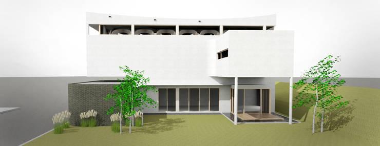 외부 파사드: 건축사사무소 모뉴멘타의  주택,모던 솔리드 우드 멀티 컬러
