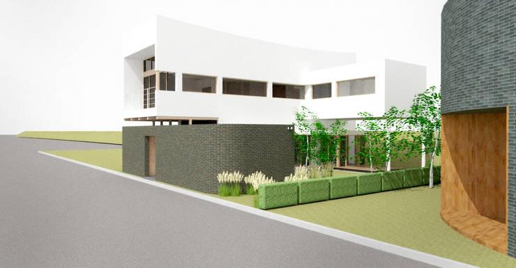 외관: 건축사사무소 모뉴멘타의  주택,모던 우드 우드 그레인