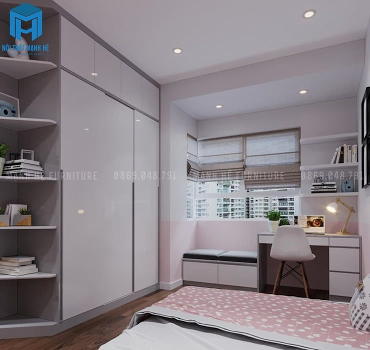 Phòng ngủ nhỏ dành cho bé gái với gam màu hồng khá nữ tính:  Phòng ngủ nhỏ by Công ty TNHH Nội Thất Mạnh Hệ