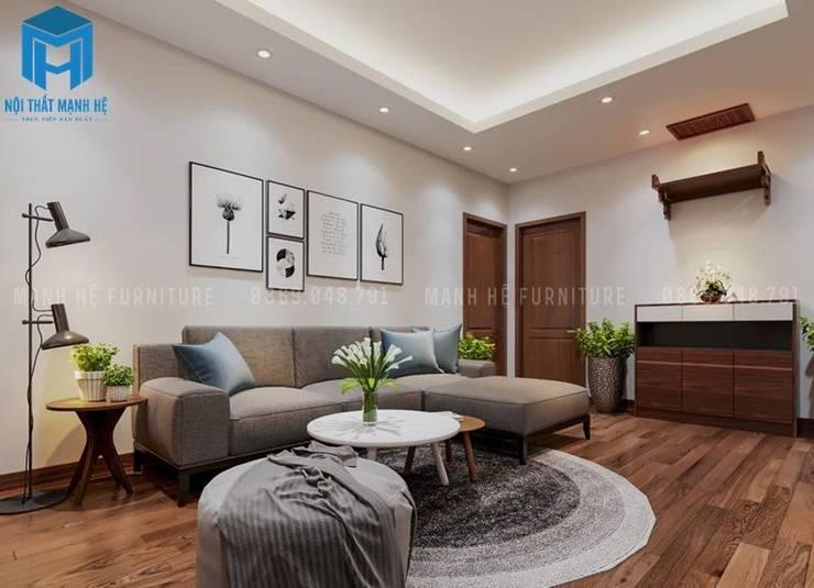 Không gian phòng khách khá thoáng đãng :  Phòng khách by Công ty TNHH Nội Thất Mạnh Hệ
