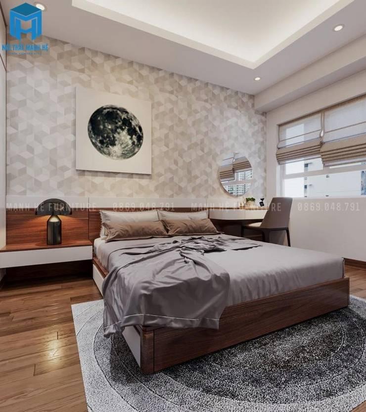 Phòng ngủ master khá rộng rãi:  Phòng ngủ by Công ty TNHH Nội Thất Mạnh Hệ